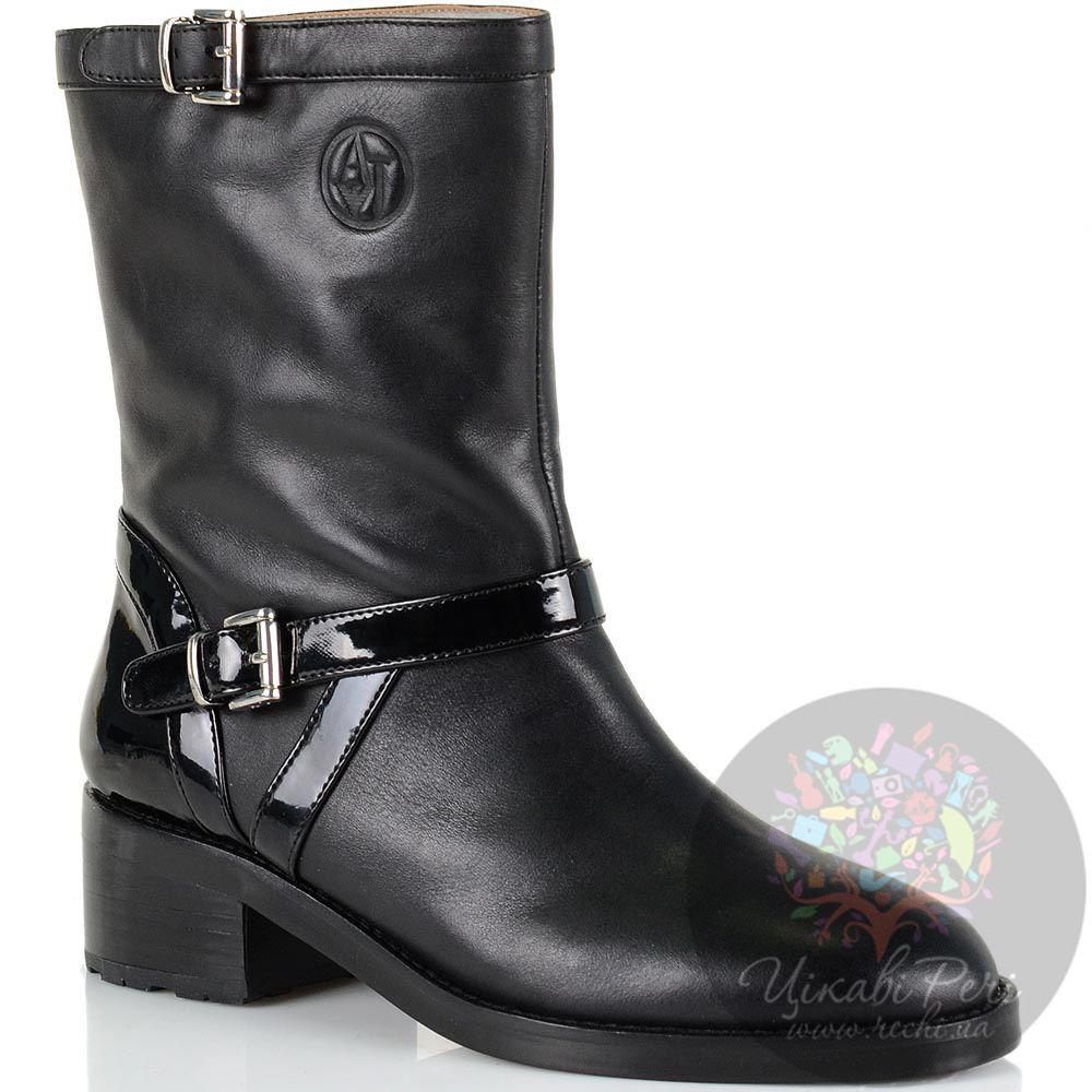Женские высокие ботинки Armani Jeans кожаные черные с лаковыми ремешками