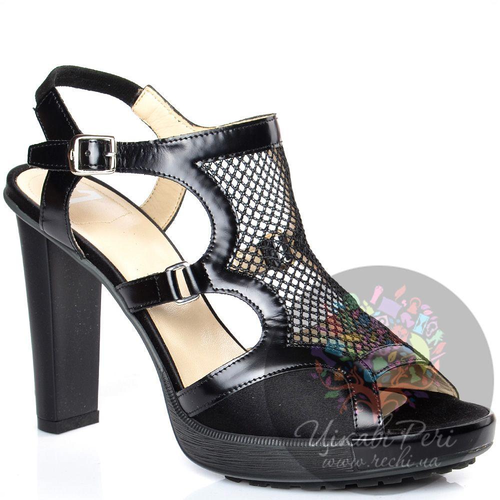 Босоножки Alberto Guardiani закрытые с сеточкой черные на каблуке-столбике