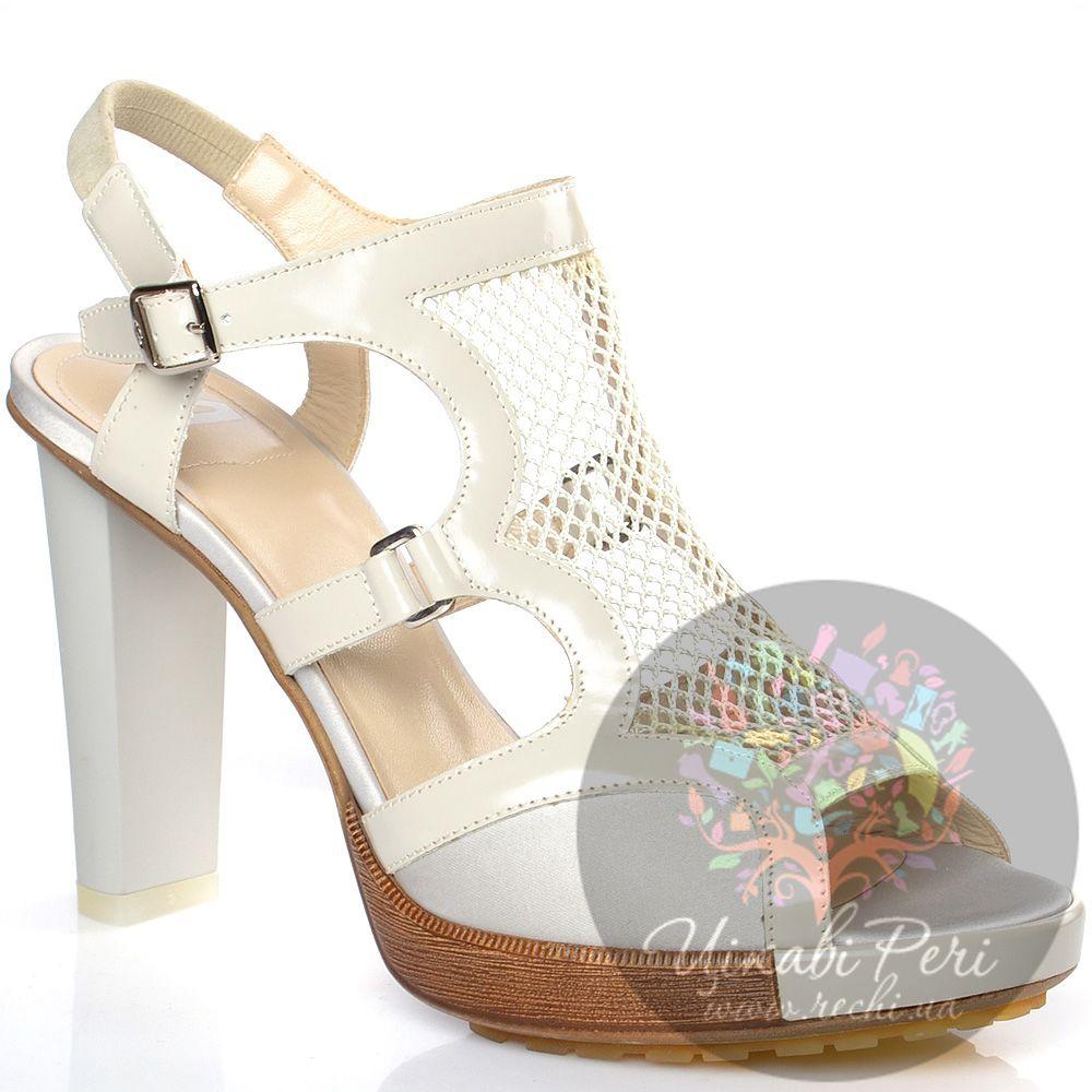 Босоножки Alberto Guardiani закрытые молочного цвета на каблуке-столбике