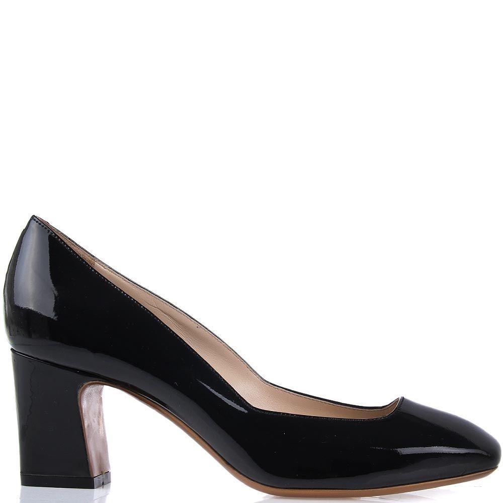 Кожаные туфли Giordano Torresi Apatite черного цвета на среднем устойчивом каблуке