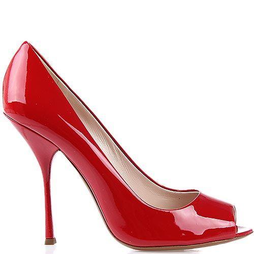 Туфли Giordano Torresi Ari ярко-красного цвета на тонкой шпильке с открытым носочком