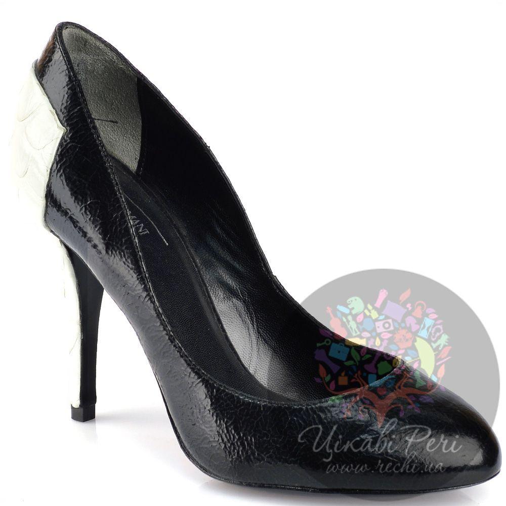Туфли Armani Collezioni черно-белые с фактурой кожи рептилии на каблуке