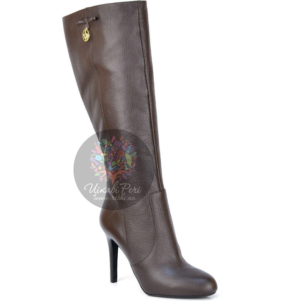 Сапоги Armani Jeans осенние кожаные темно-коричневые на шпильке