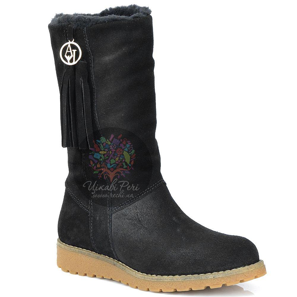 Полусапожки Armani Jeans зимние замшевые черные на низком ходу