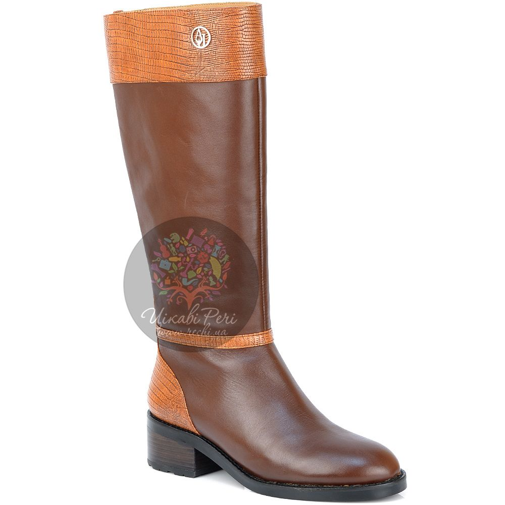 Сапоги Armani Jeans осенние кожаные из коричневой и оранжевой кожи