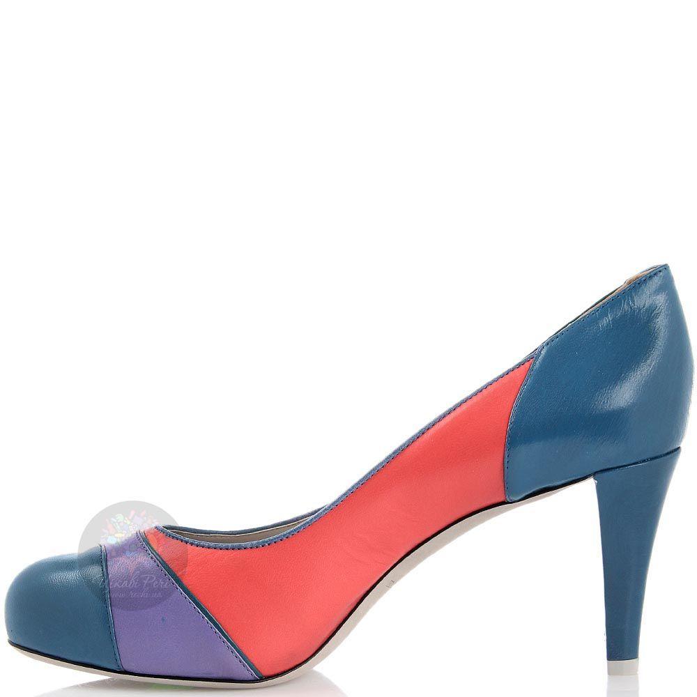 Разноцветные туфли Emporio Armani на среднем каблуке с округлым носочком