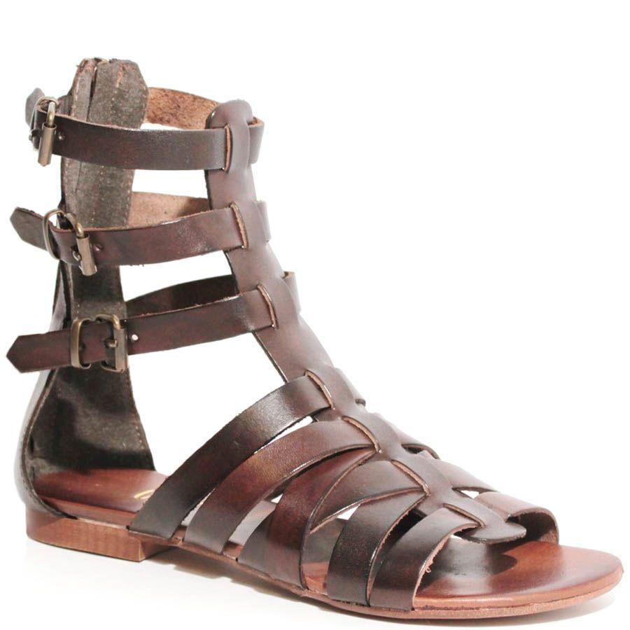 Сандалии Ovye в гладиаторском стиле кожаные коричневые