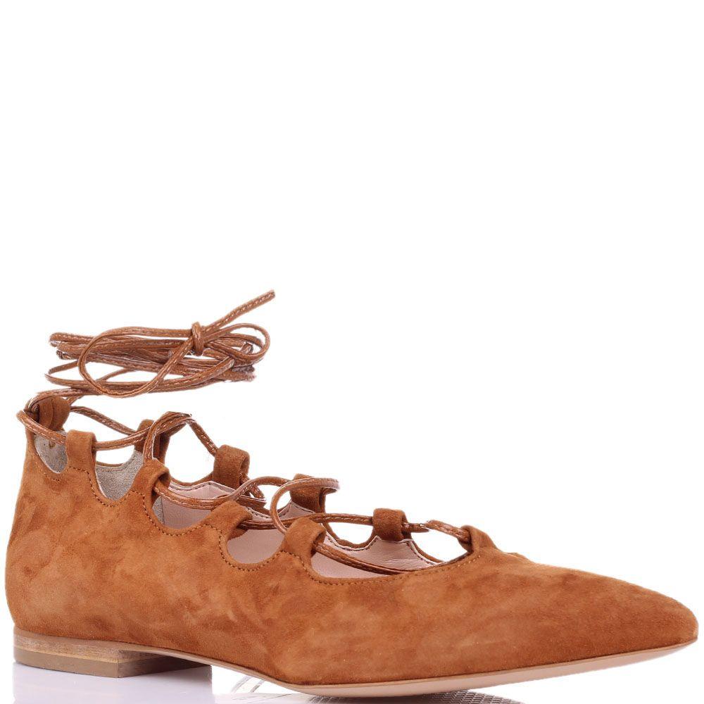 Замшевые туфли Ovye насыщенно-коричневого цвета на шнуровке с острым носиком