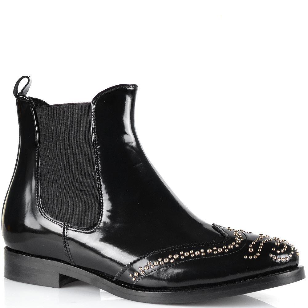 Ботинки-броги Bianca Di из лаковой черной кожи с мелкими заклепками