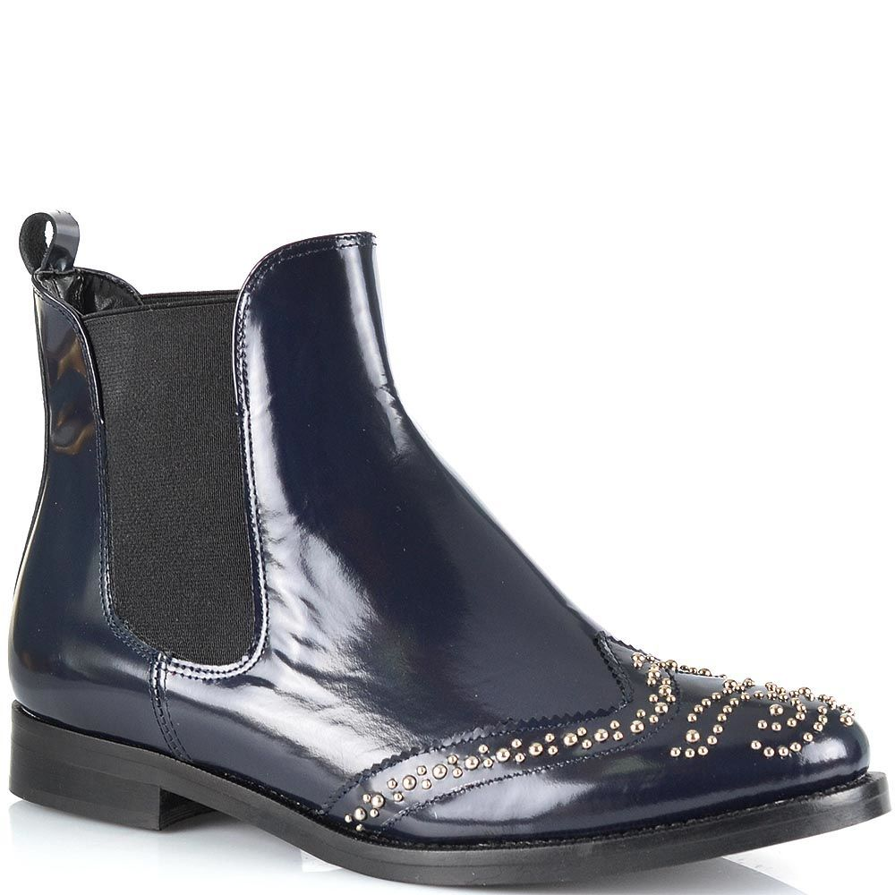 Ботинки-броги Bianca Di из темно-синей лаковой кожи с мелкими заклепками