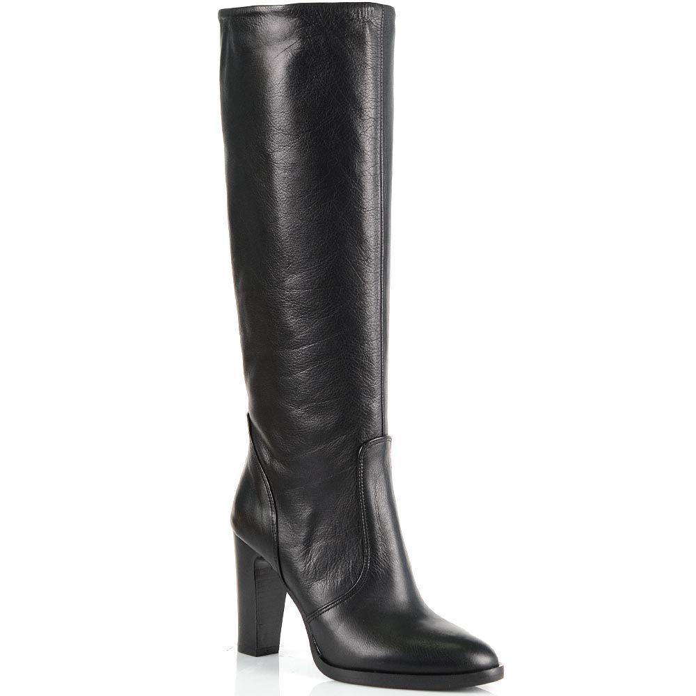 Женские сапоги Bianca Di из зернистой черной кожи на высоком каблуке