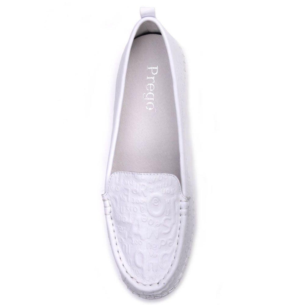Туфли-мокасины Prego из натуральной кожи белого цвета на низком ходу