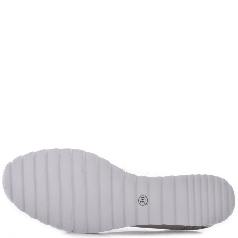 Туфли Prego из натуральной перфорированной белой кожи на танкетке