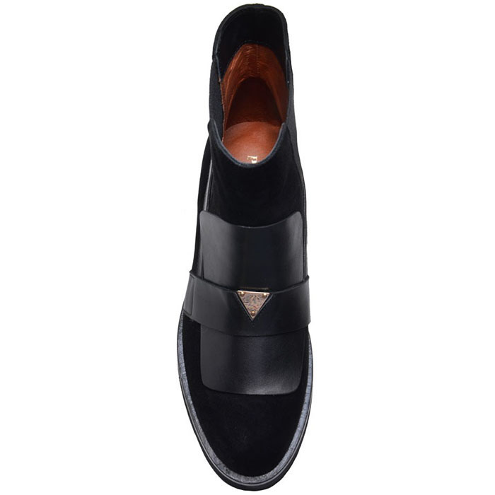Замшевые ботинки на резинке Prego черного цвета с кожаными деталями
