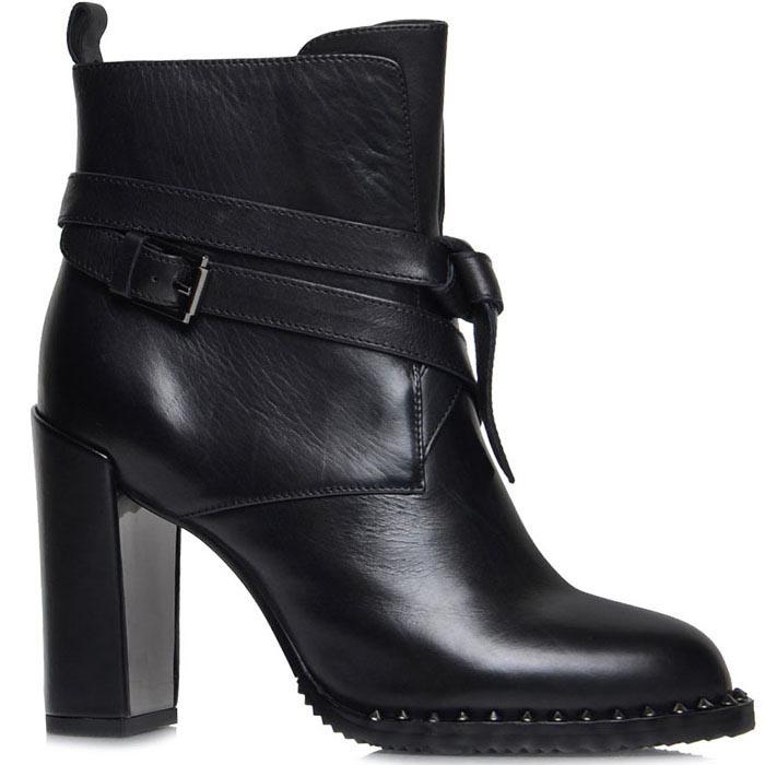 Ботинки Prego из натуральной кожи черного цвета с ремешком на высоком каблуке