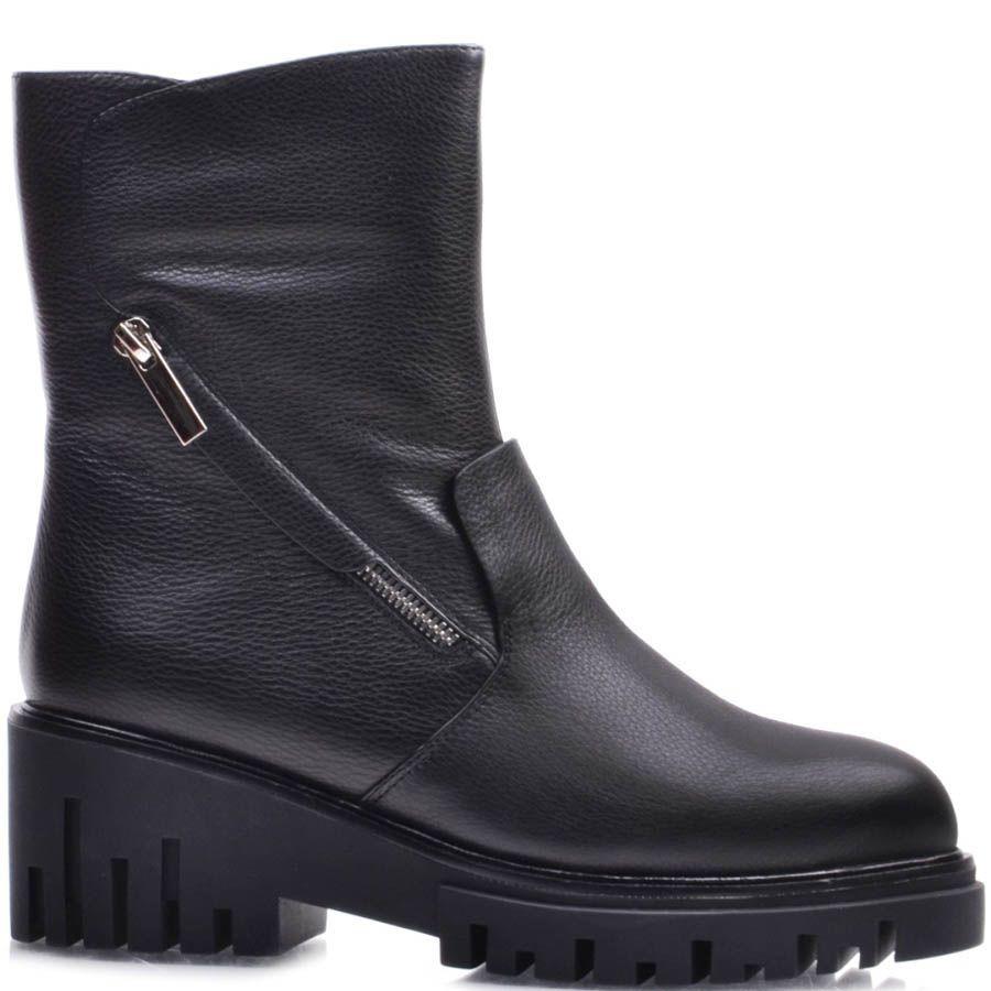 Ботинки Prego зимние на меху черного цвета из кожи и с декоративной молнией по диагонали