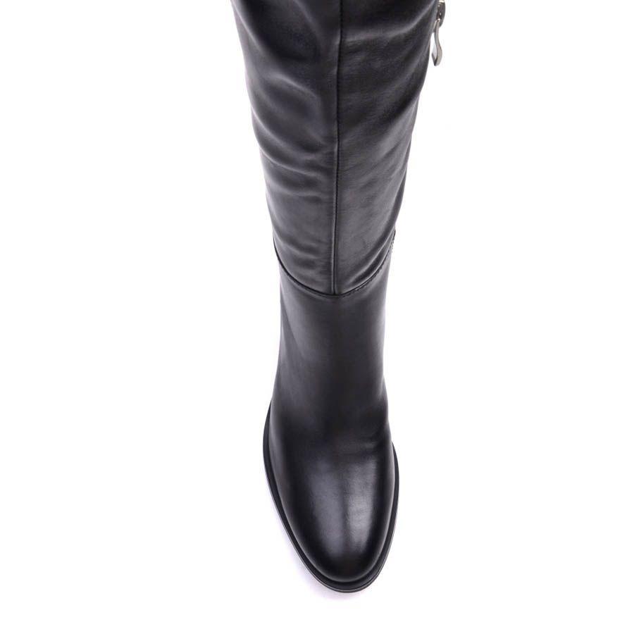Сапоги Prego осенние черного цвета минималистичные с низкий квадратным каблуком
