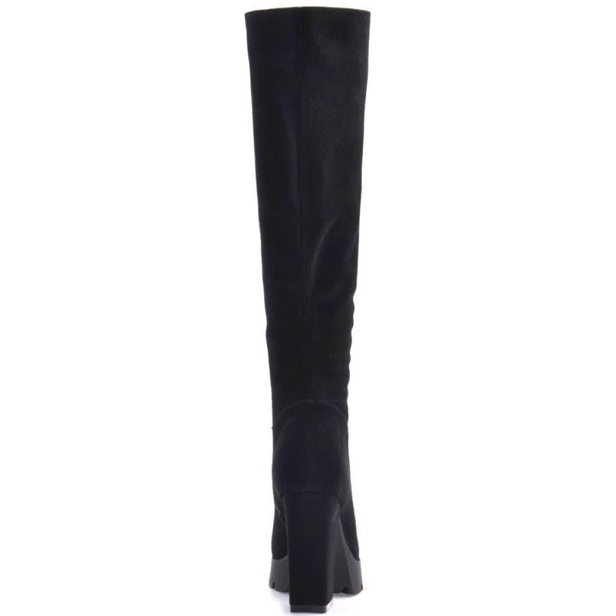 Сапоги Prego осенние замшевые черного цвета с толстым замшевым каблуком