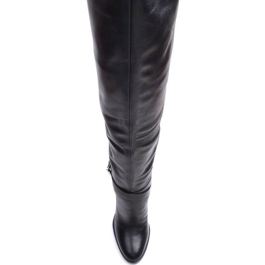 Высокие сапоги Prego зимние кожаные с мехом до щиколотки и ремешком вокруг щиколотки