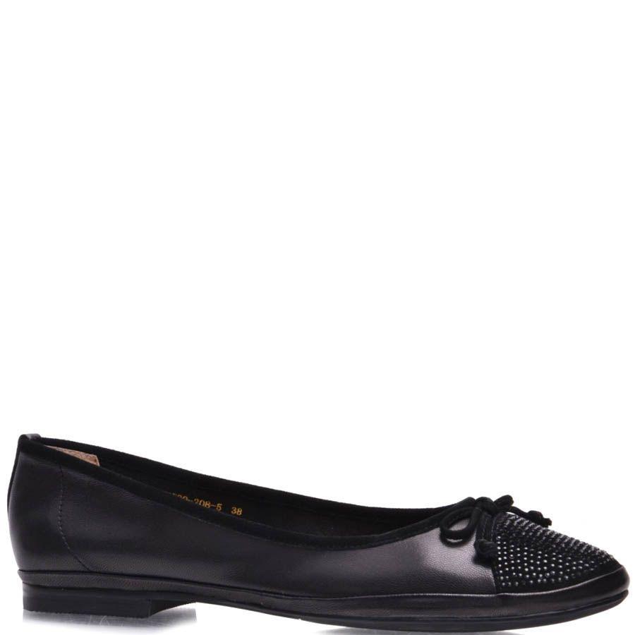 Балетки Grado женские черного цвета со стразами на носочке