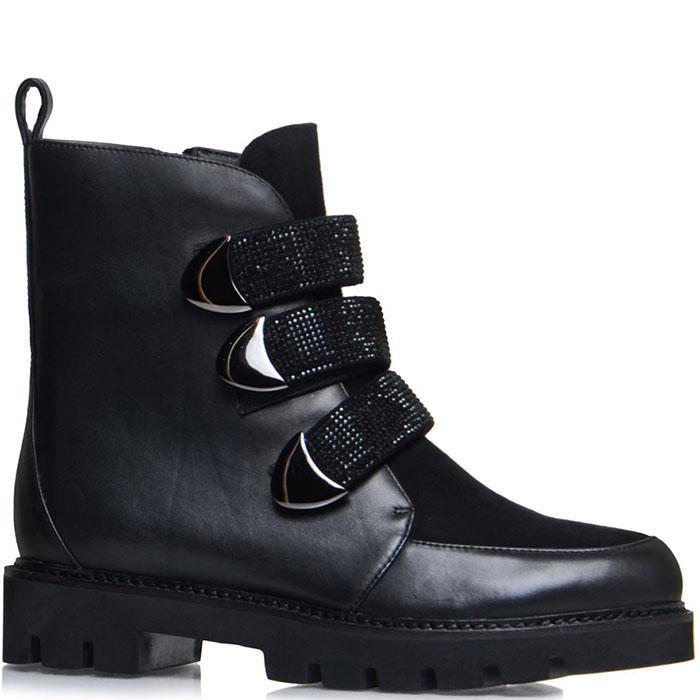 Черные кожаные ботинки Prego украшенные стразами