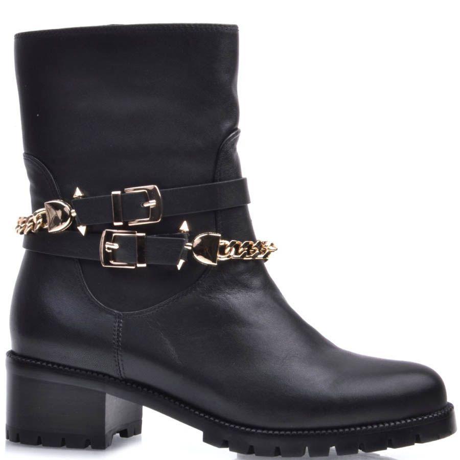 Ботинки Prego черного цвета из матовой кожи с декором в виде золотистых пряжек и цепей