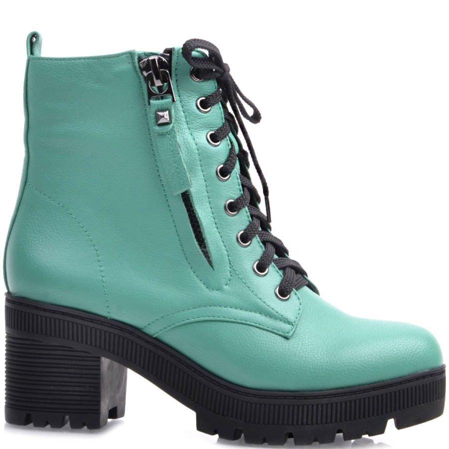 Ботинки Prego бирюзовые на шнуровке и с молниями