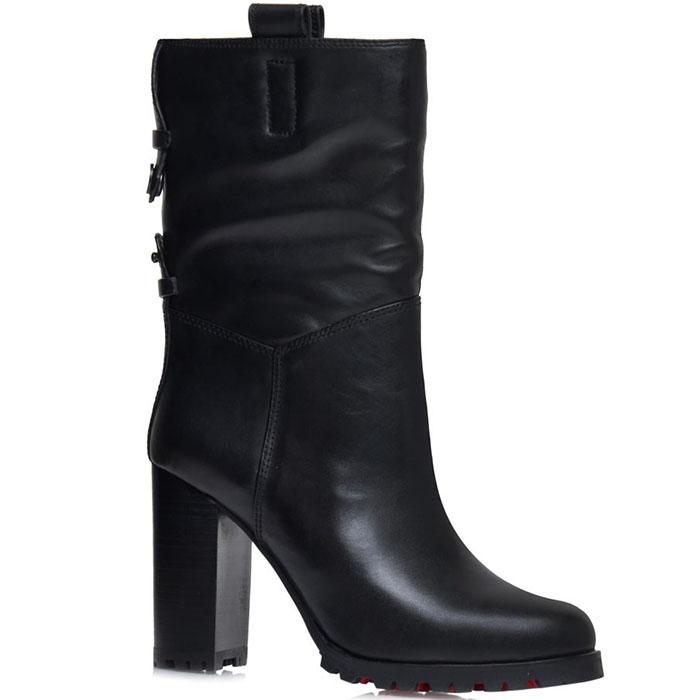 Высокие кожаные ботинки Prego черного цвета на толстом каблуке