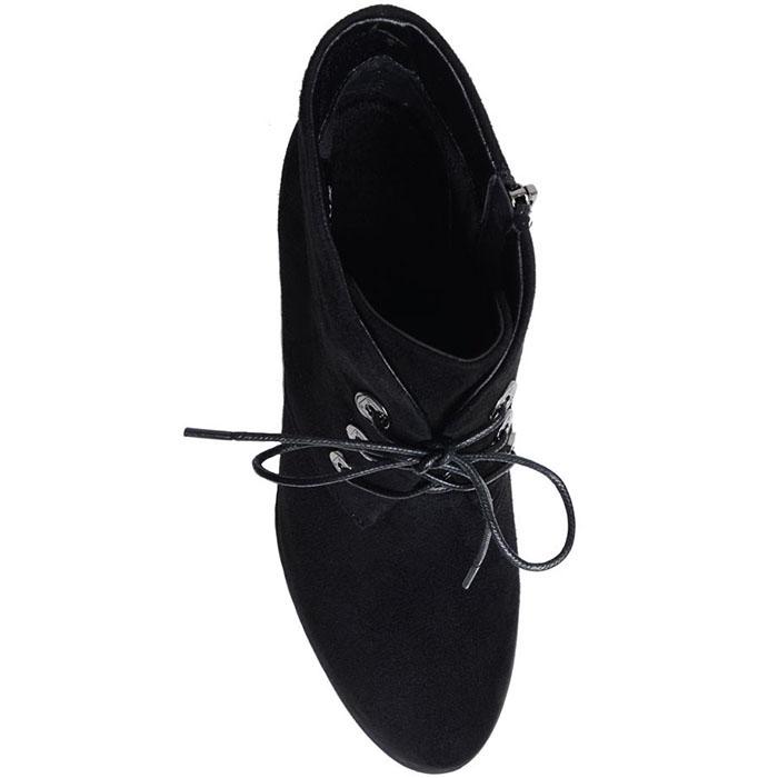 Ботильоны из замши Prego черного цвета на толстом каблуке