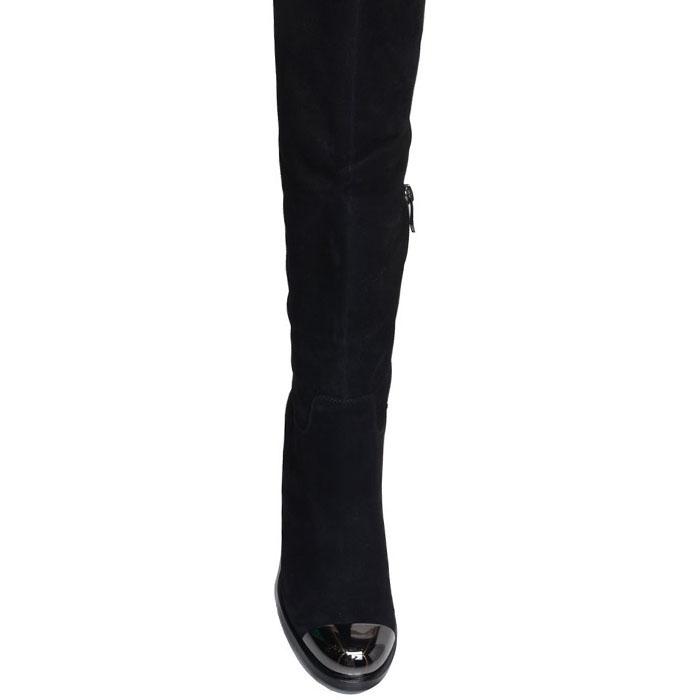Сапоги Prego из натуральной замши черного цвета с металлическим носочком
