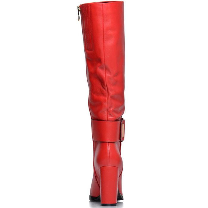 Кожаные сапоги Prego красного цвета