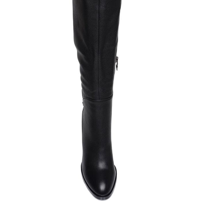 Высокие сапоги Prego из кожи черного цвета на высоком каблуке