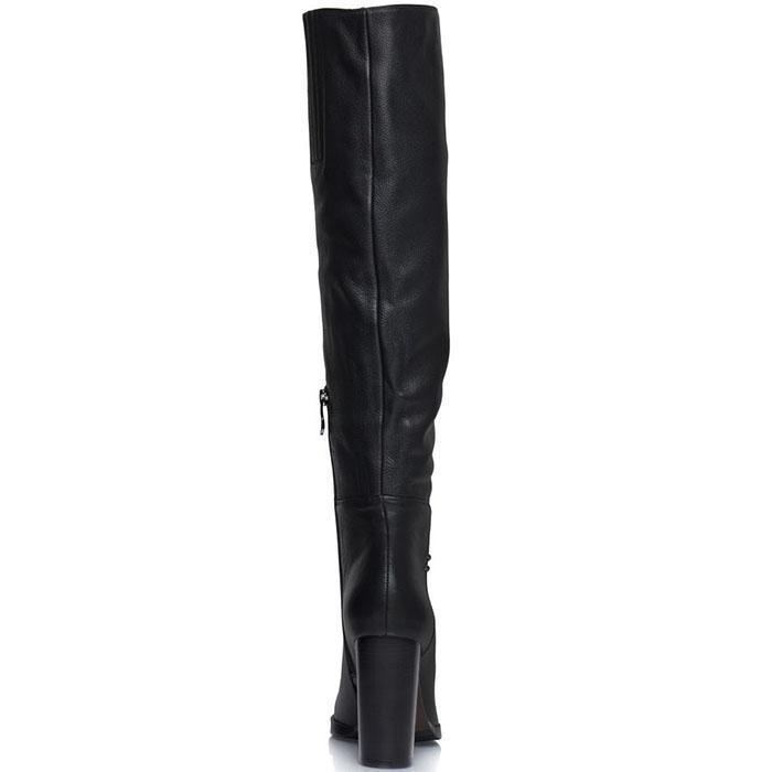 Высокие сапоги Prego из натуральной кожи черного цвета на высоком каблуке