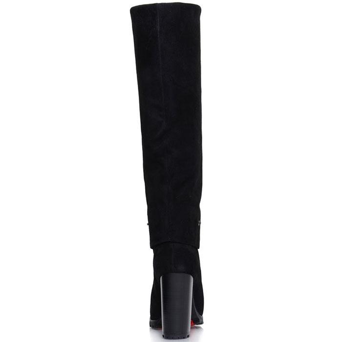 Высокие сапоги Prego из натуральной кожи черного цвета