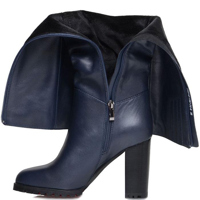 Кожаные сапоги Prego синего цвета на устойчивом каблуке