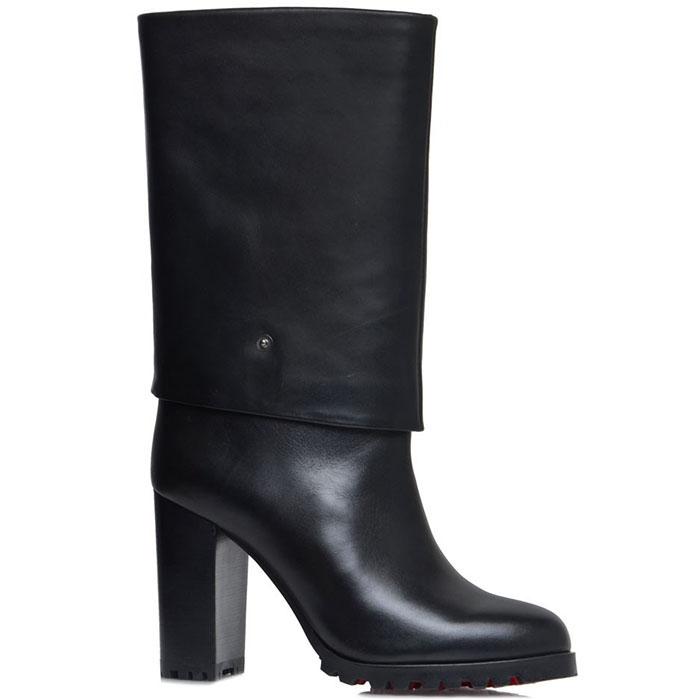 Женские сапоги Prego из кожи черного цвета на высоком каблуке