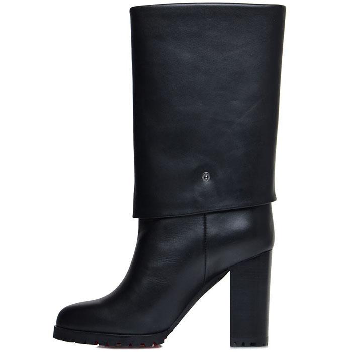 Женские сапоги Prego из натуральной кожи черного цвета на высоком каблуке