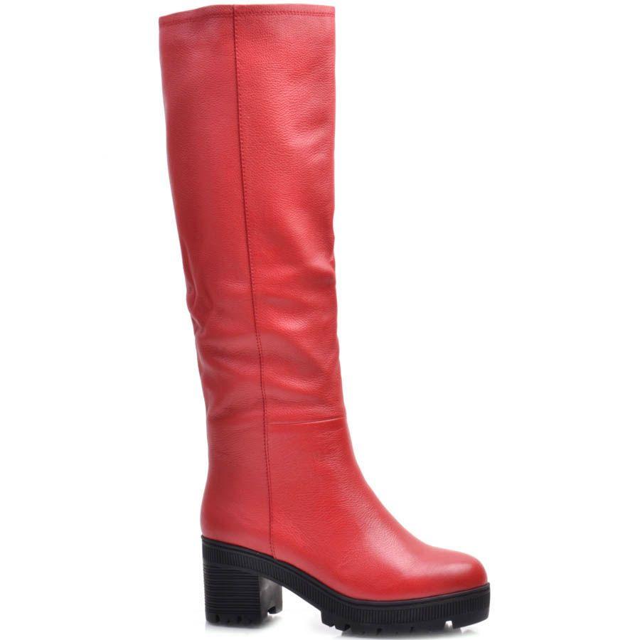 Сапоги Prego зимние кожаные красного цвета на устойчивом каблуке с подошвой черного цвета