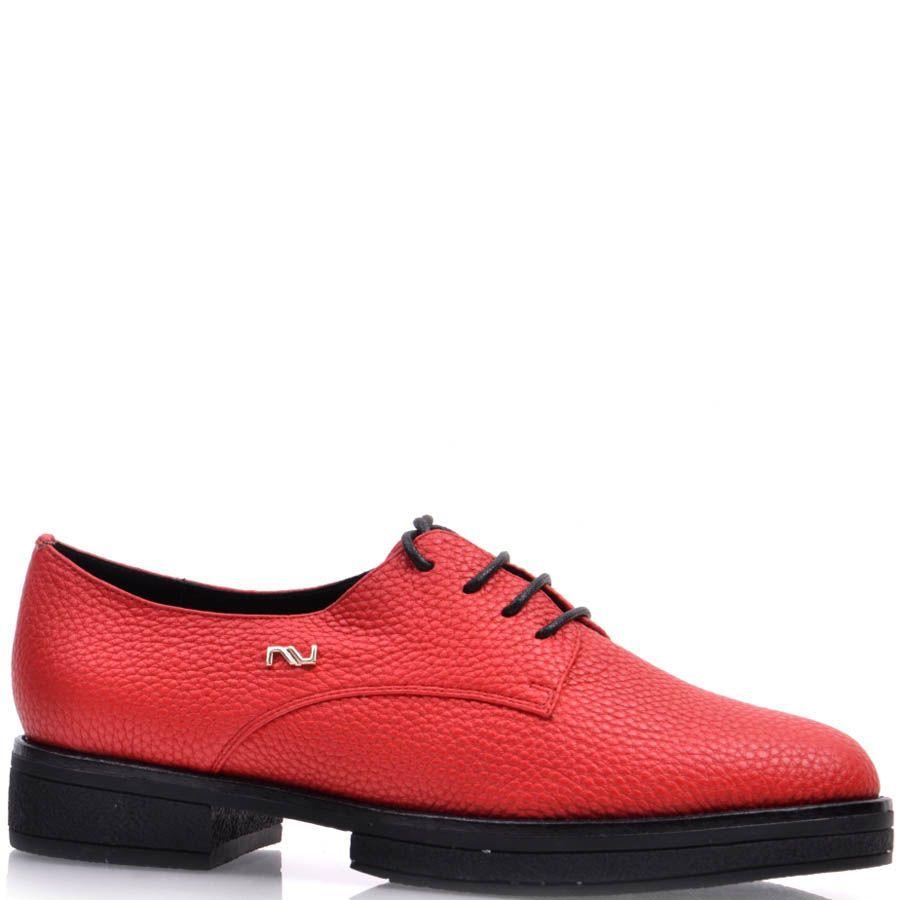 Туфли Prego красного цвета из зернистой кожи на шнуровке