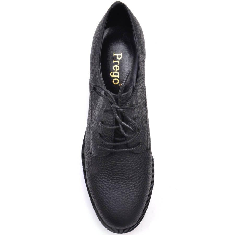Ботинки Prego черного цвета из зернистой кожи с синей подошвой