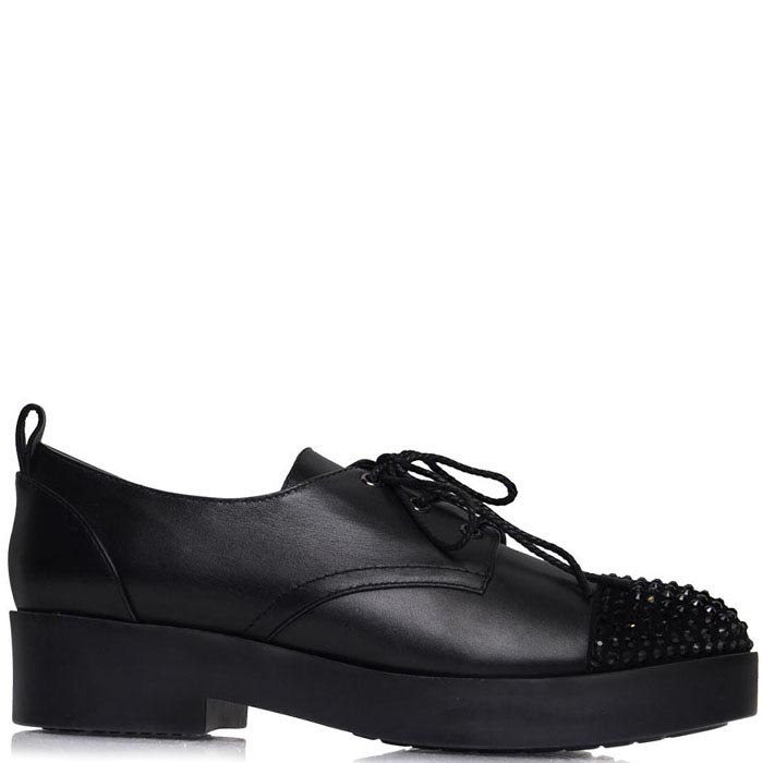Туфли Prego черного цвета на шнуровке украшенные стразами