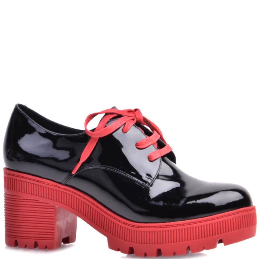 Туфли Prego лаковые с красными шнурками и толстой красной подошвой