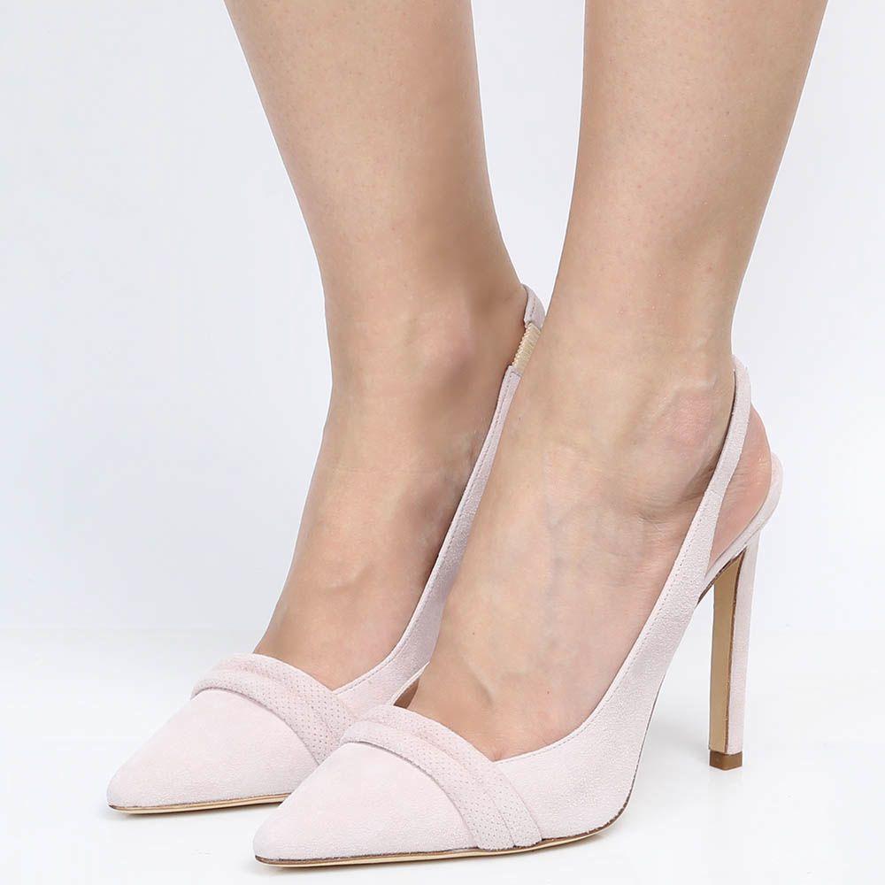Босоножки Reda Milano из замши нежно-розового цвета с закрытым носочком