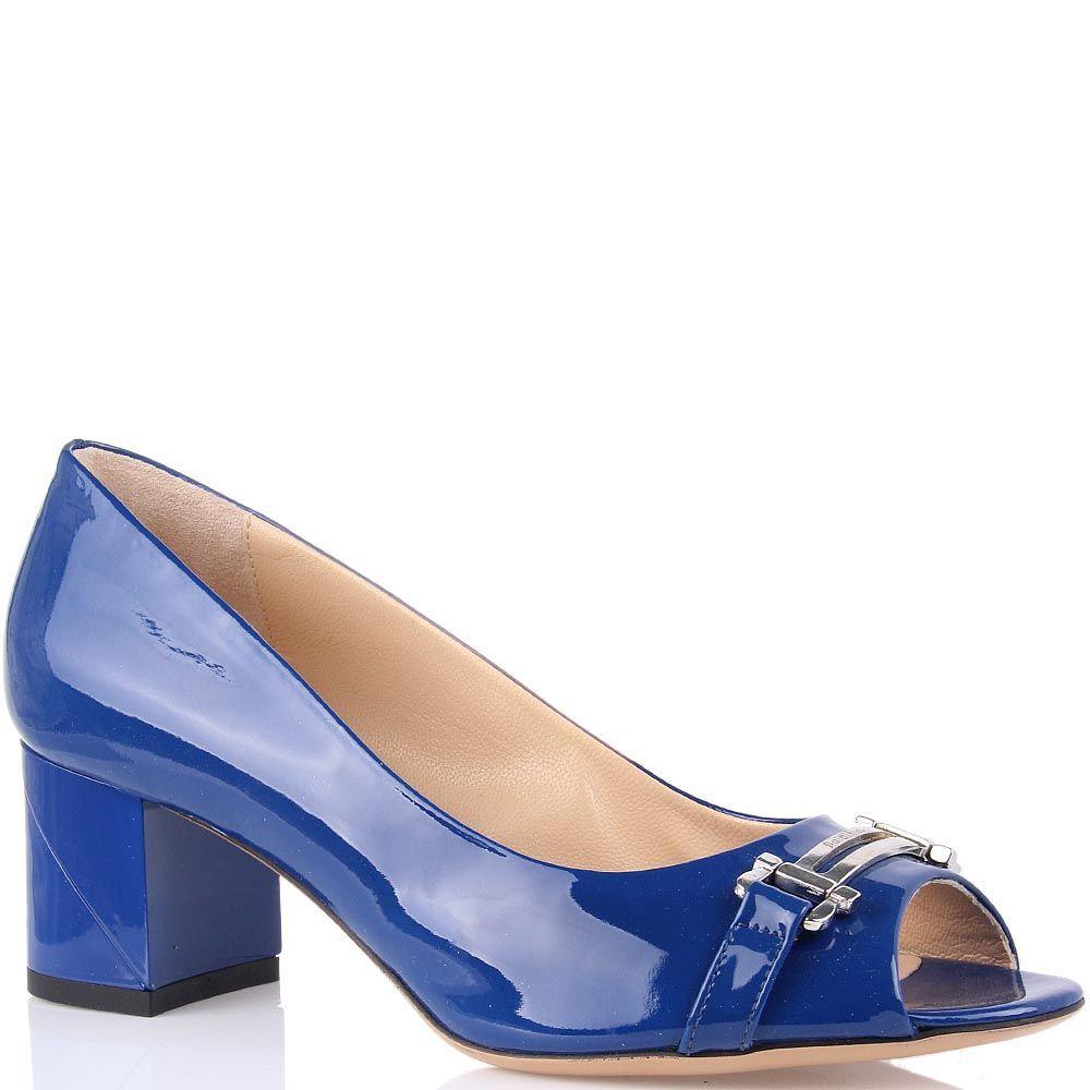 Лаковые туфли Baldinini синие с открытым носком