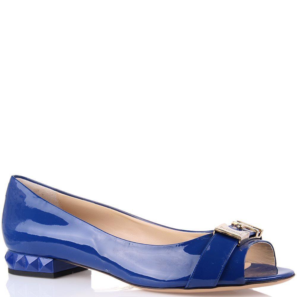 Туфли Baldinini синего цвета на низком каблуке с открытым носком