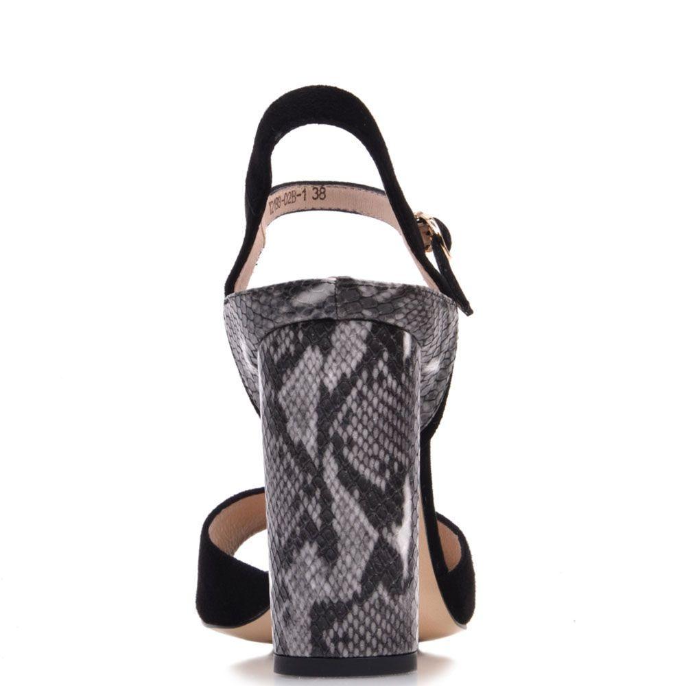 Кожаные босоножки Prego черного цвета с имитацией кожи рептилии на каблуке