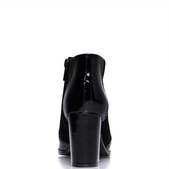 Замшевые ботильоны Prego черного цвета с лаковыми вставками