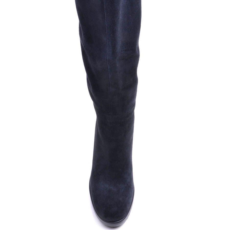 Сапоги Prego зимние из замши синего цвета на меху с устойчивым замшевым каблуком