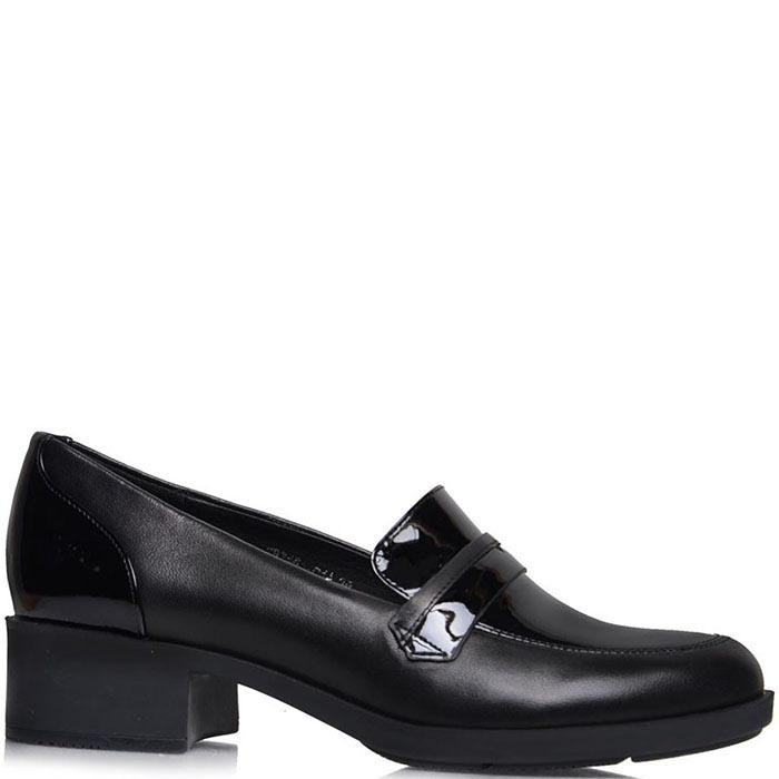 Туфли Prego из натуральной кожи черного цвета с лаковыми вставками
