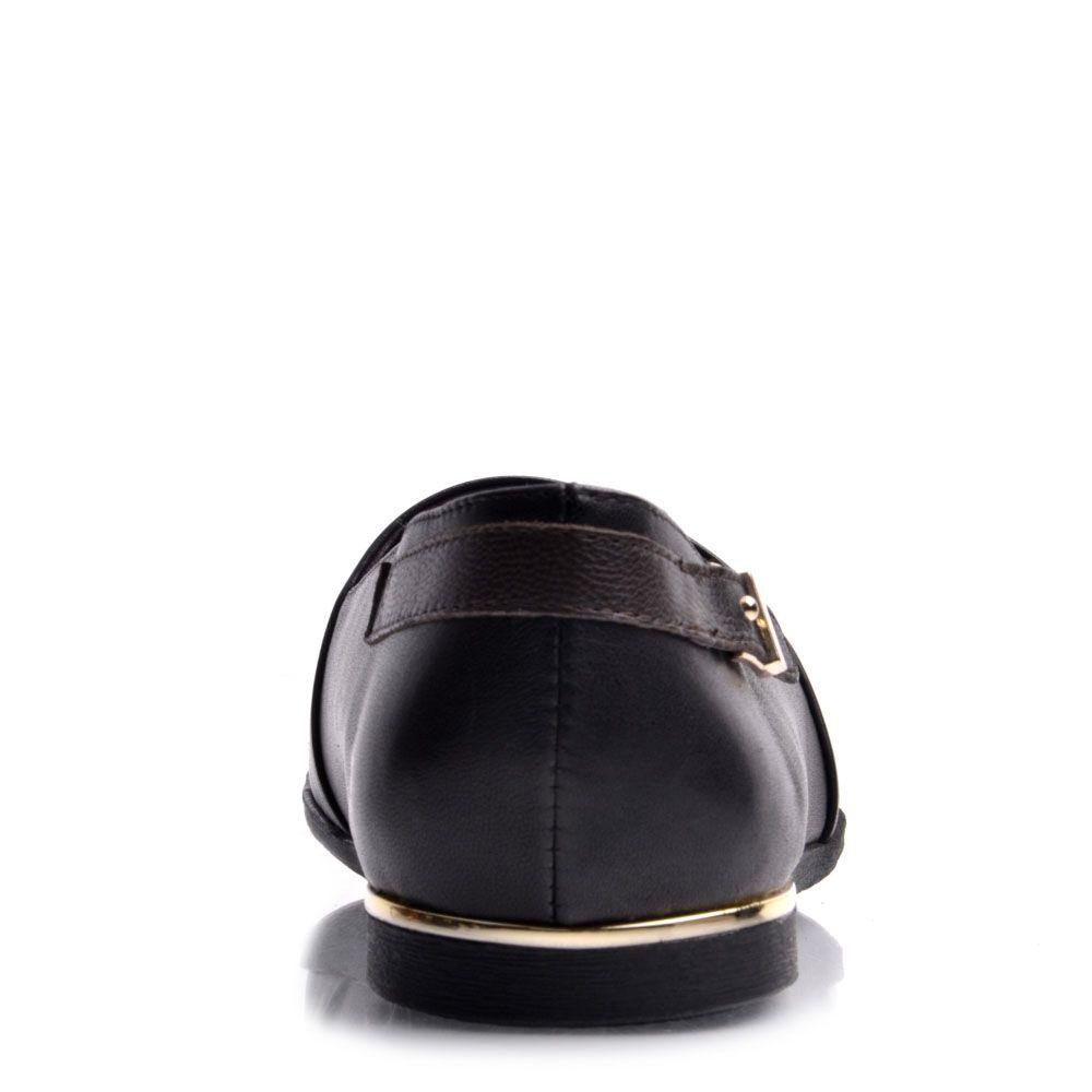 Туфли Prego из натуральной кожи черного цвета на низком ходу